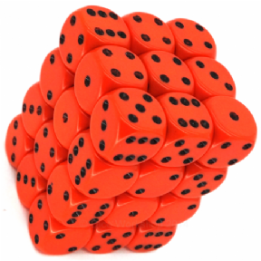 Orange & Black Opaque 12mm D6 Dice Block